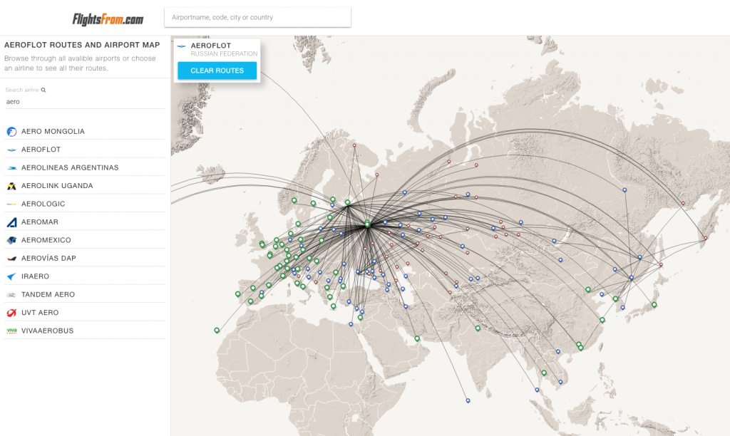 New feature: Airline route maps - FlightsFrom.com on
